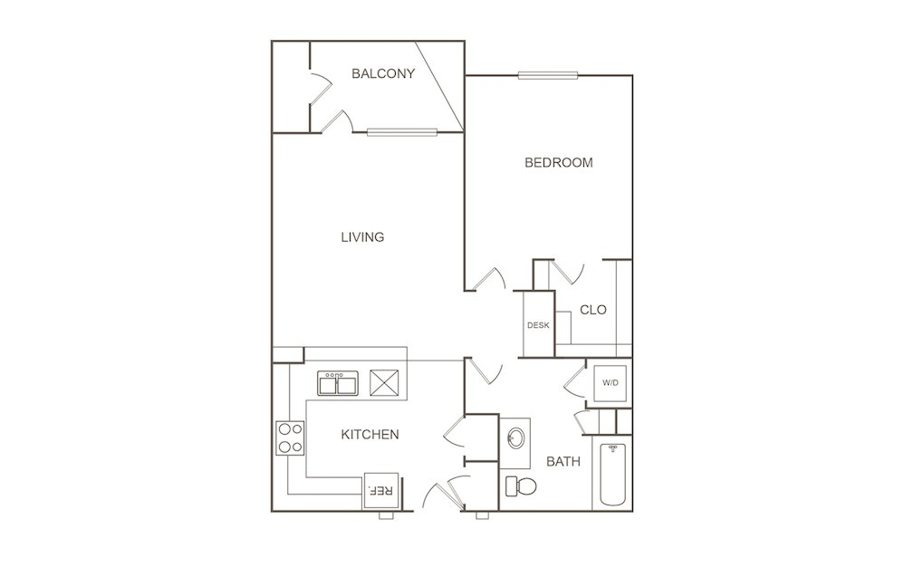 A1 - 1 bedroom floorplan layout with 1 bath and 750 square feet (1st floor 2D)