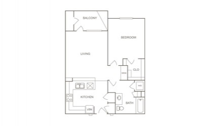 A1 - 1 bedroom floorplan layout with 1 bath and 750 square feet