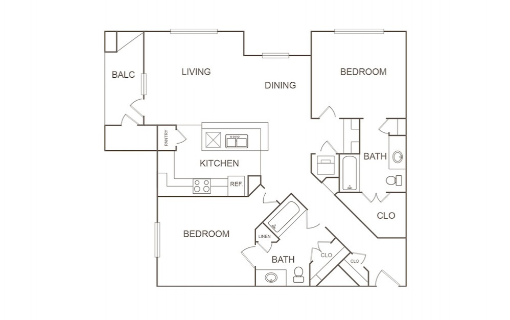 B1 - 2 bedroom floorplan layout with 2 bath and 1205 square feet (1st floor 2D)