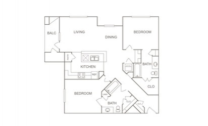 B1 - 2 bedroom floorplan layout with 2 bath and 1205 square feet